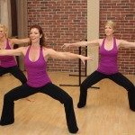 Working hard doing the Advanced Burn at the Barre workout!